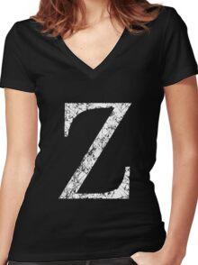 Zeta Greek Letter Symbol Grunge Style Women's Fitted V-Neck T-Shirt