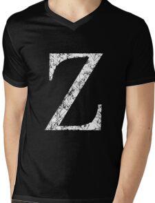 Zeta Greek Letter Symbol Grunge Style Mens V-Neck T-Shirt