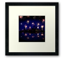 Fireworks celebration over skyscrapers Framed Print