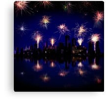 Fireworks celebration over skyscrapers Canvas Print