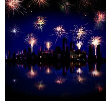 Fireworks celebration over skyscrapers Photographic Print