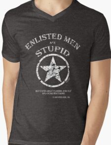 ENLISTED MEN are STUPID!   (But Cunning and Sly!) Mens V-Neck T-Shirt