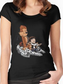 Chewie And Han Calvin And The Hobbes Women's Fitted Scoop T-Shirt