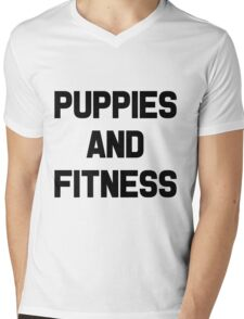 Puppies and Fitness Mens V-Neck T-Shirt
