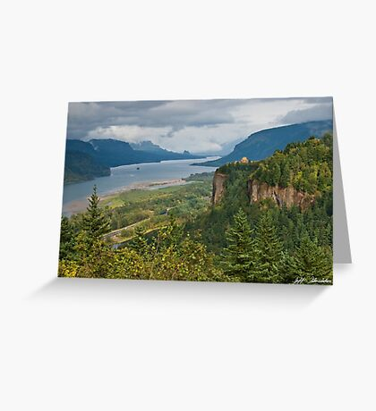 Crown Point, Vista House and Columbia River Greeting Card