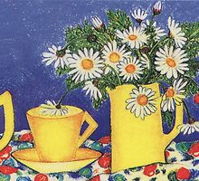 Daisies with Bird Jug by YouBeaut Designs