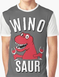 Winosaur Dinosaur Drinking Wine Graphic T-Shirt