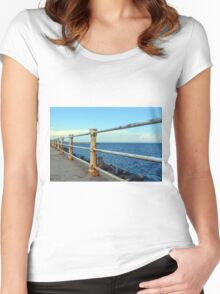 The sea and promenade with rusty white handrail. Women's Fitted Scoop T-Shirt