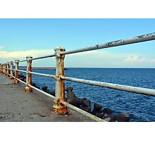 The sea and promenade with rusty white handrail. Photographic Print
