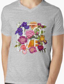 Floral Love Graphic Design Mens V-Neck T-Shirt