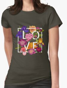 Floral Love Graphic Design Womens Fitted T-Shirt