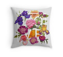 Floral Love Graphic Design Throw Pillow