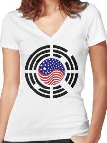 Korean American Multinational Patriot Flag Series 4.0 Women's Fitted V-Neck T-Shirt