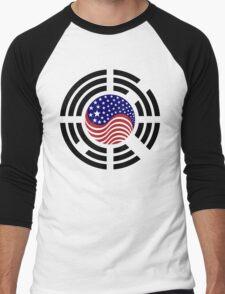 Korean American Multinational Patriot Flag Series 4.0 Men's Baseball ¾ T-Shirt