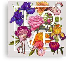 Floral and birds flamingos Love Graphic Design Canvas Print