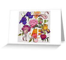 Floral and birds flamingos Love Graphic Design Greeting Card