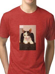 Photo Cute Cat Sitting at Keyboard  Tri-blend T-Shirt