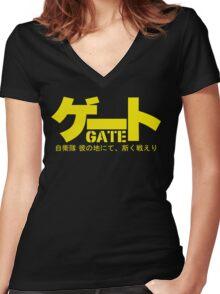 Gate Logo Anime : Jieitai Kano Chi nite, Kaku Tatakaeri Women's Fitted V-Neck T-Shirt