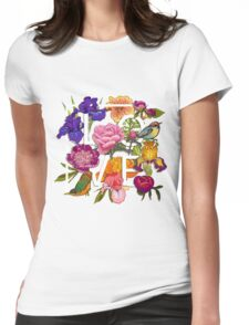 Floral and birds Graphic Design  Womens Fitted T-Shirt