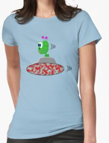 A Little Green Alien in His Saucer Womens Fitted T-Shirt