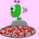 A Little Green Alien in His Saucer by Dennis Melling