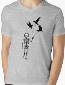 Child Skeleton walking pet crows Mens V-Neck T-Shirt