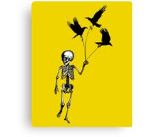 Child Skeleton walking pet crows Canvas Print