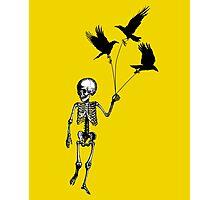 Child Skeleton walking pet crows Photographic Print
