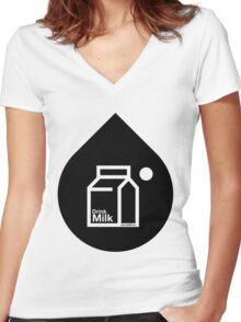 Milk - (Black) Women's Fitted V-Neck T-Shirt
