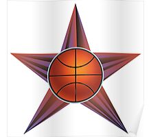 Basketball Ball on Rays Background Poster