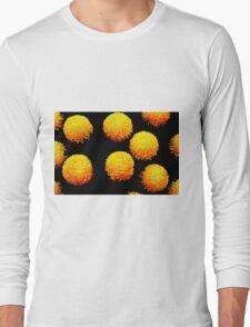 yellow globes on black Long Sleeve T-Shirt