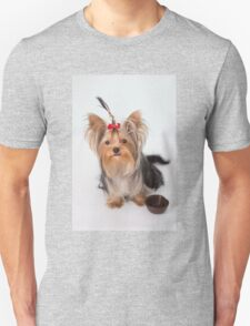 A charming puppy with her plate Unisex T-Shirt