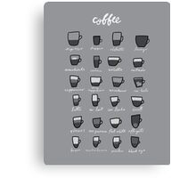Coffee Typology Canvas Print