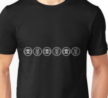 SLR Camera with Flash gun icons_white Unisex T-Shirt