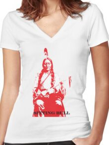 Sitting Bull - Red Women's Fitted V-Neck T-Shirt