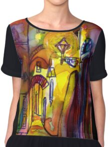 Medieval alley by night in Florence Chiffon Top