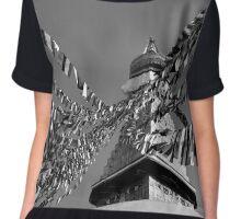 Boudhanath Stupa in Black and White Chiffon Top
