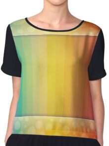 Colorful Rainbow Striped and Polka Dot Spectrum Chiffon Top