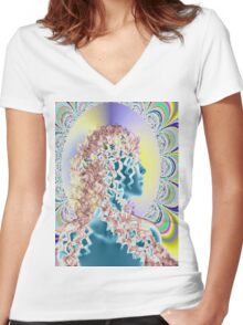 PSYCHEDELIC NEW ROMANTIC Women's Fitted V-Neck T-Shirt