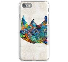 Rhino Rhinoceros Art - Looking Up - By Sharon Cummings iPhone Case/Skin