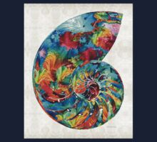 Colorful Nautilus Shell by Sharon Cummings Kids Tee