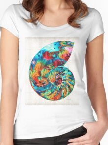 Colorful Nautilus Shell by Sharon Cummings Women's Fitted Scoop T-Shirt