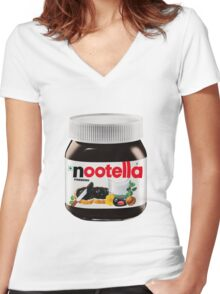 pingu nutella, nootella  Women's Fitted V-Neck T-Shirt