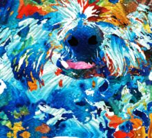 Colorful Dog Art - Lhasa Love - By Sharon Cummings Sticker