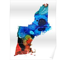 New England - Map By Sharon Cummings Poster