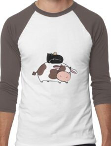 Cow Black Cat and Chick Men's Baseball ¾ T-Shirt