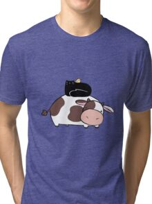Cow Black Cat and Chick Tri-blend T-Shirt