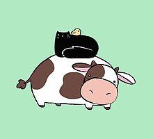 Cow Black Cat and Chick by SaradaBoru