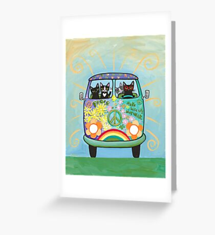 Hippie Cats Road Trip! Greeting Card