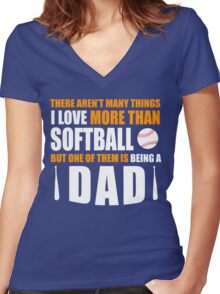 fathers day gift softball Women's Fitted V-Neck T-Shirt